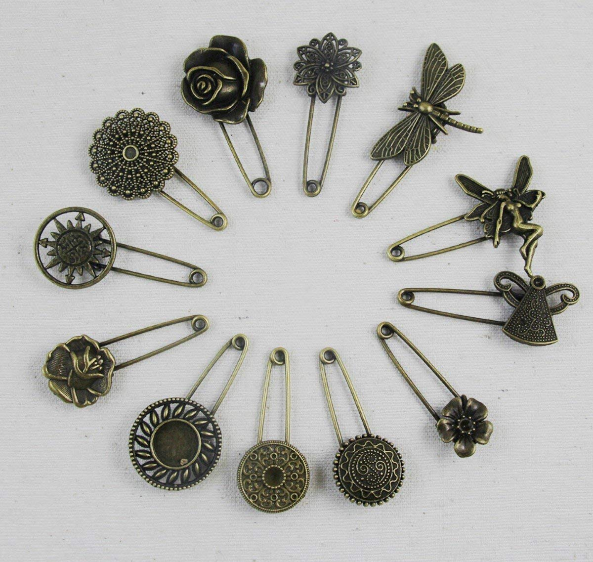 24ce0cc25 Get Quotations · WellieSTR Lot of 12PCS Vintage Style Steampunk Bronze  Brooch Safety Pin brooch pin Steampunk Findings,