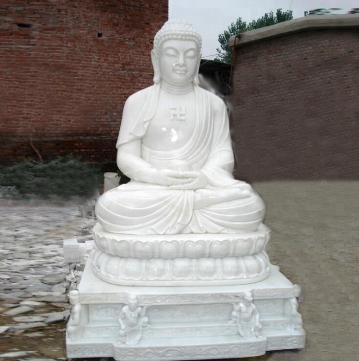 Eastern Hand Carved White Marble Buddha Statue