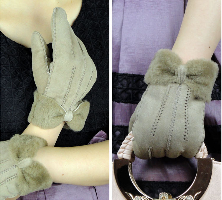 Lay genuine double face leather and fur gloves