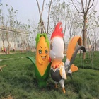 Cartoon animal movie standing life size cock with corn statue