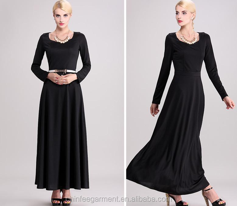 d469504bb23a Ladies Abaya Plain Long Dress Long Sleeves Maxi Muslim Dresses - Buy ...
