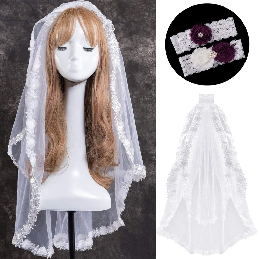 LONGBLE 2T 2 Tiers Wedding Bridal Veils Women White Elegant Comb Tulle With Lace Garters