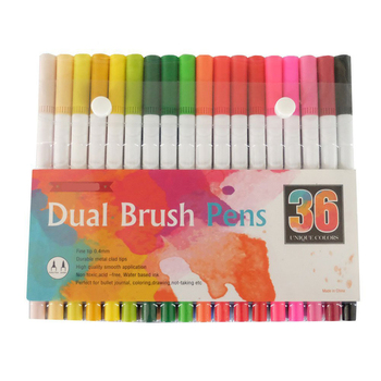 Dual Brush Pen Art Markers, Bright, 36 Pack, Brush and Fine Tip Marker