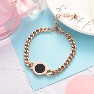Baoyan Fashion 2018 winter rose gold big metal chain bracelet with roman numerals jewelry stainless steel joyas acero