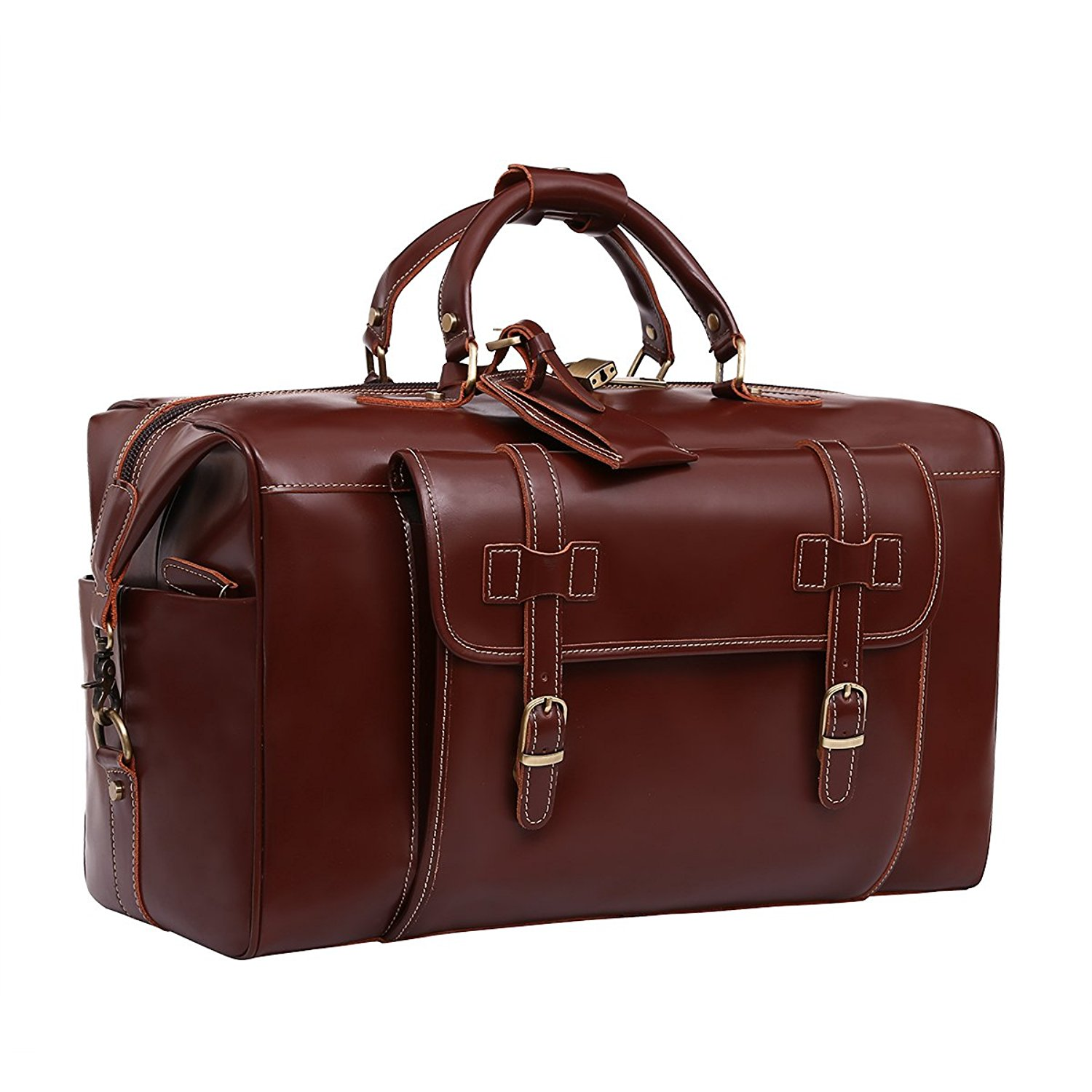 1e511307bc16bf Get Quotations · Leathario Mens Genuine Leather Overnight Travel Duffle  Weekend Bag