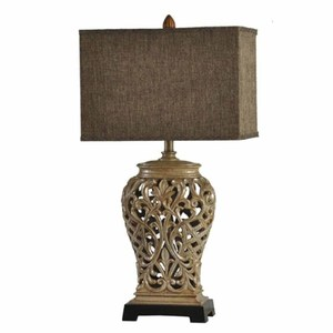 Manufacturers European Antique Countryside Style Hollow Out Flowers Shape Bronze Polyresin Table Lamp With Warm Light