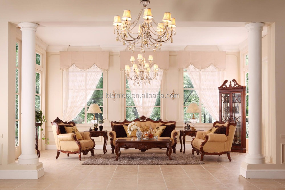 French Style Luxury Leather Sofa Set Perfect Color Matching Living Room Furniture