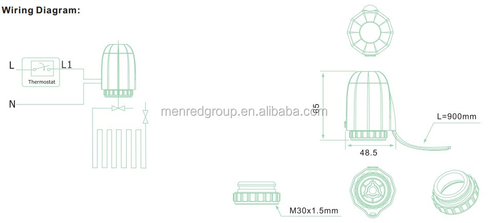 Menred AC230V, 24V M30*1.5mm thermal floor heating actuator SEH50 with CE certification