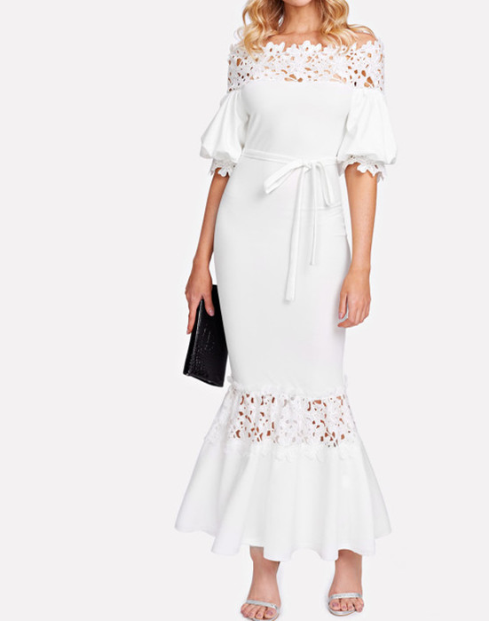 White Maxi Off shoulder Long woman evening dress