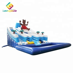 cute bear outdoor inflatable summer water game with pool inflatable water park bouncy water slide