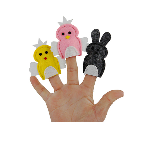 Handmade wholesale felt finger puppet with animal custom