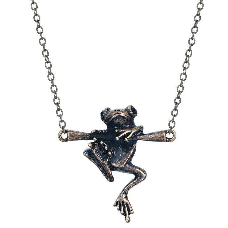 2019 Fashion Jewelry 3D Funny Silver Frog Hang On The Branch Pendant Animal Necklace
