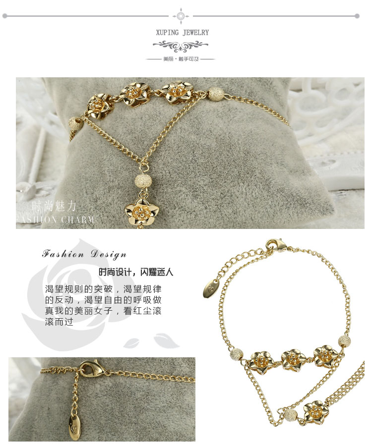 74101 Xuping flower14k gold hand chain fashion design, women for jewelers, fancy chain bracelet for girls