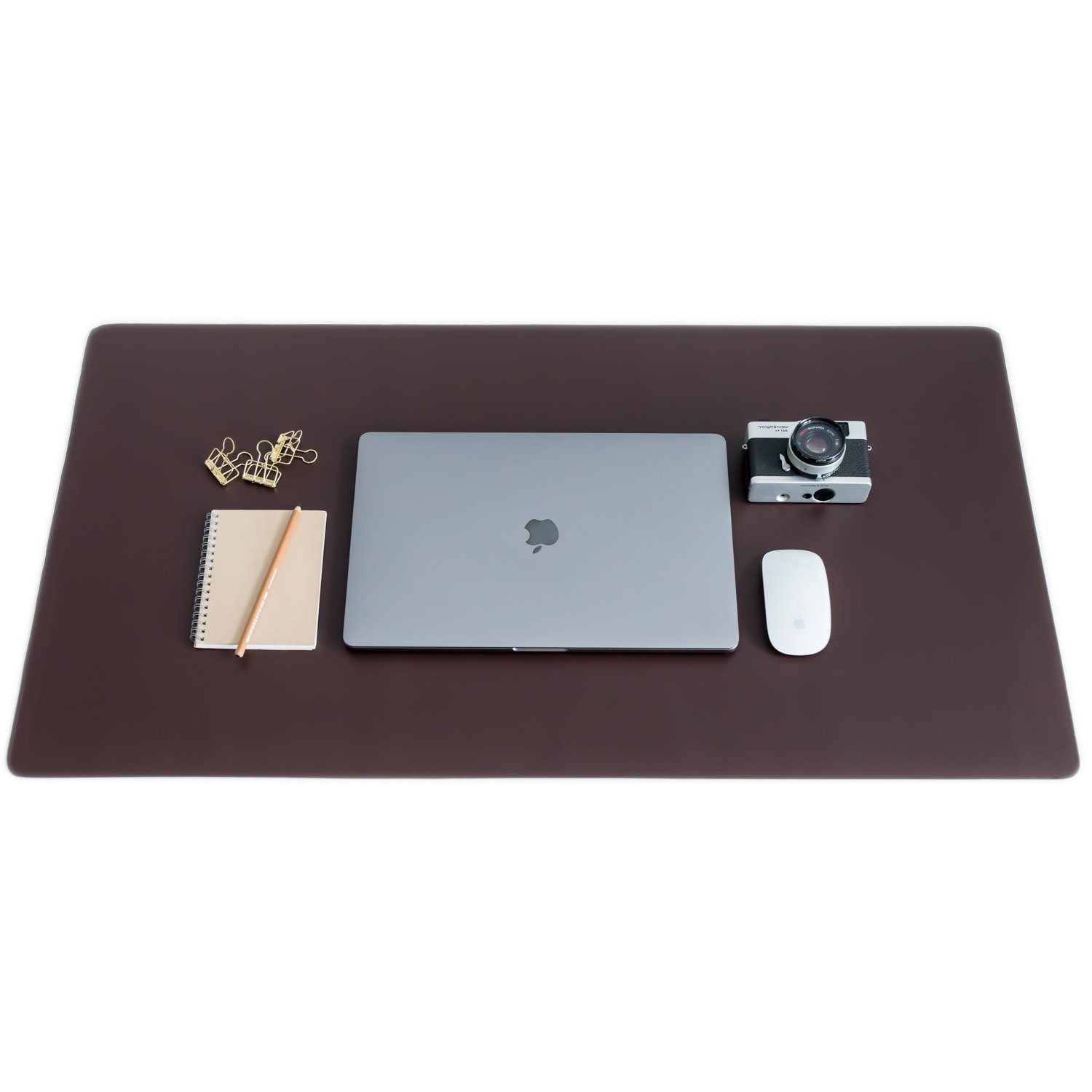 "ZBRANDS // Brown Leather Smooth Desk Mat Pad Blotter Protector, Extended Non-Slip Rectangular, Laptop Keyboard Mouse Pad (36"" x 20"")"