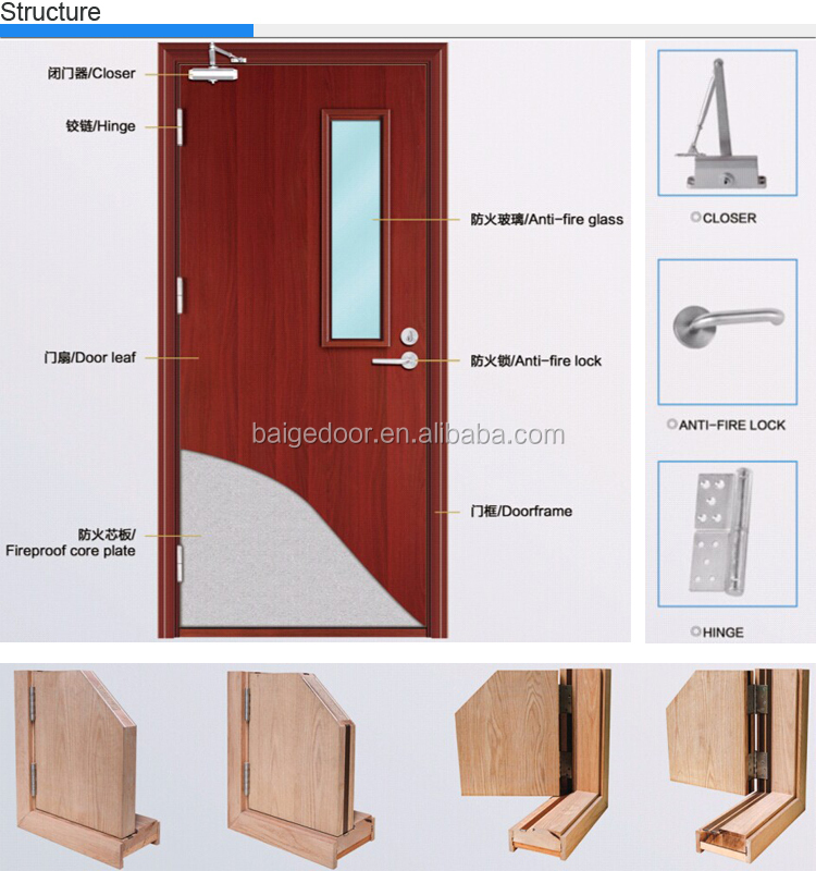 BG-FW9101 hotel hospital 30 - 60 min wooden Fire Rated Door, View ...