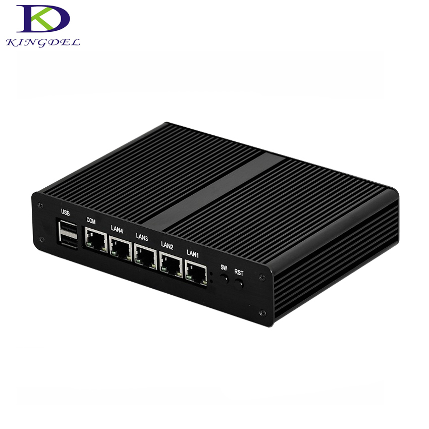 Fanless Baytrail J1900 Quad Core Mini PC Quad NIC Linux High Performance Barebone VGA MINI Computer
