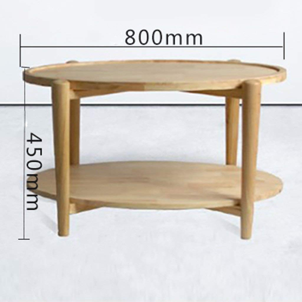 Mmdp Solid Wood Coffee Table Simple Oval Double Layers Tea Table Northern Europe Living Room Storage Corner Table (Color : Wood color, Size : 110cm60cm45cm)