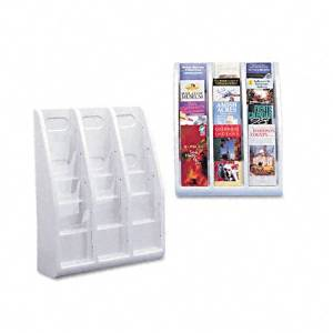 deflect-o : 12-Pocket Plastic Desktop or Wall-Mount Literature Display Rack, Clear/Gray -:- Sold as 2 Packs of - 1 - / - Total of 2 Each