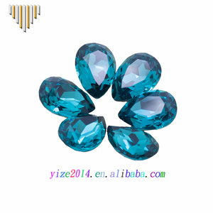 Lab created pear faceted cut synthetic blue zircon stone, pear shaped faceted glass stones