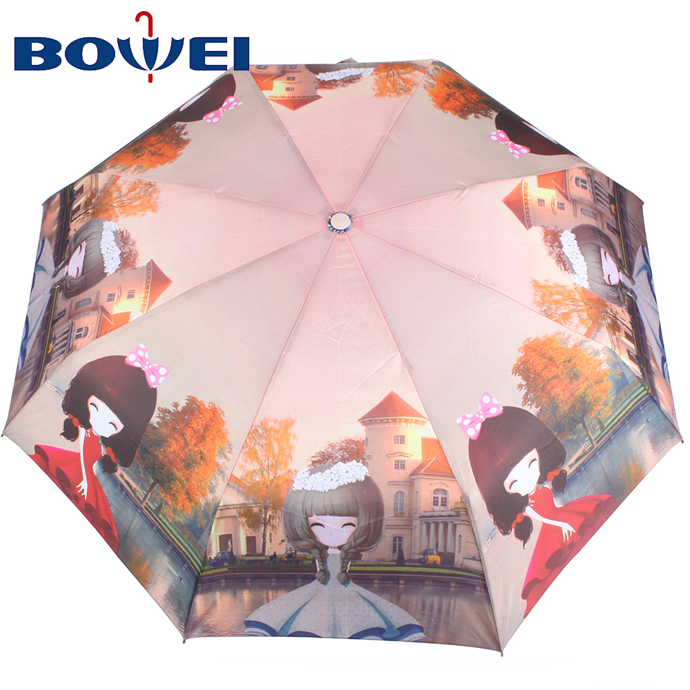 2020 China supplier customized auto open polyester three fold umbrella with print