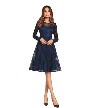 promo code 59daa 40454 Frauen Elegante Kleider Knielangen Rundhals Spitze Lange Ärmel Kleid - Buy  Schwarz Kleid,Plus Größe Kleid Röcke,Schwarz Fett Frauen Big Ass In ...