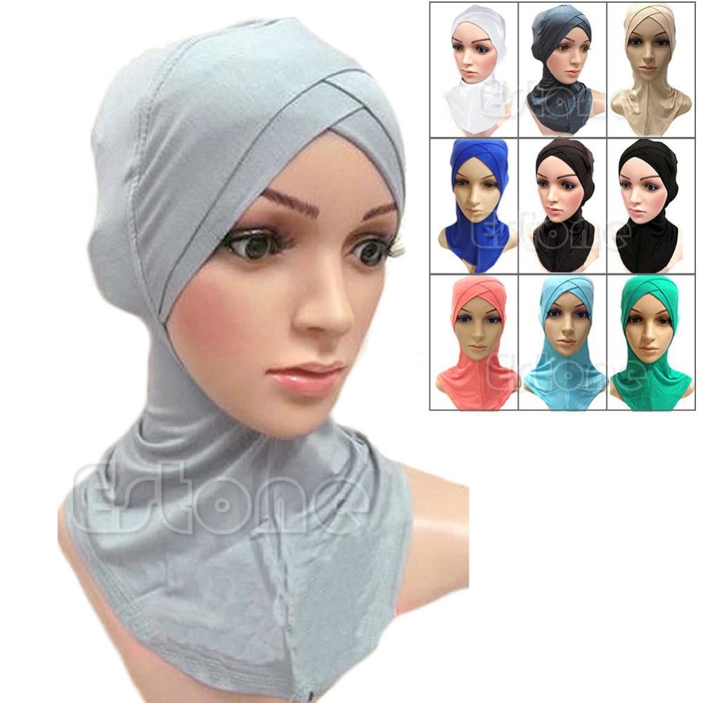 488c7c463c8b0 Full Cover Inner Muslim Cotton Hijab Cap Islamic Head Wear Hat ...