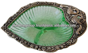 White Metal And Glass Handcrafted Dry Fruit Bowl Made In India ...