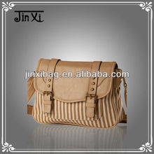 2013 trendy lady PU & Stripe canvas hobo bag for women