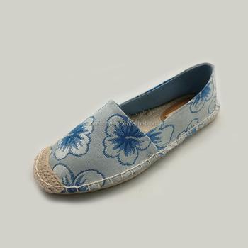 Ladies Beautiful Flat Shoes Blue Flower