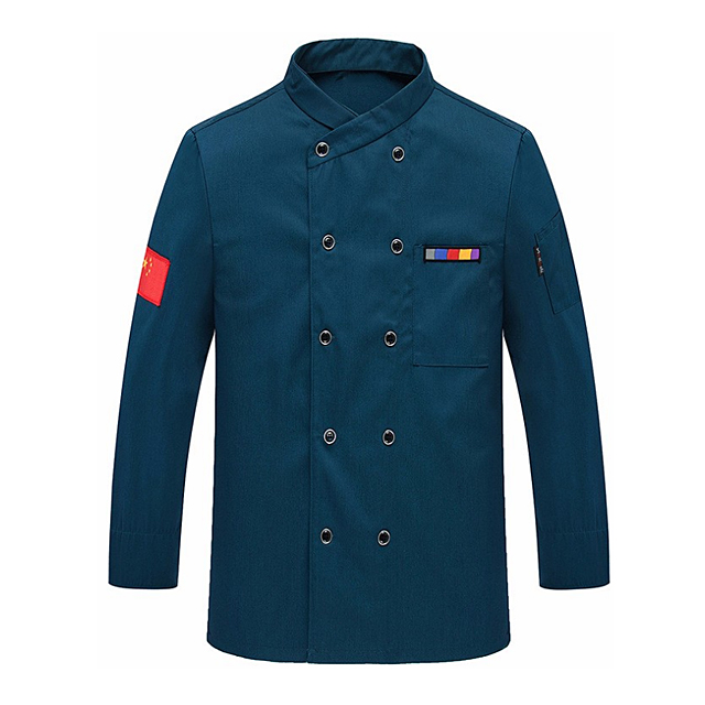 New Design High-quality Chef Jacket Men's Stand Collar Double-breasted Cook Uniform OEM Formal Restaurant Chef Uniforms