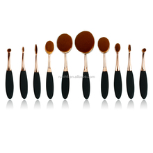 Rose Gold 10pcs Oval Makeup Brushes Toothbrush Makeup Brush Set