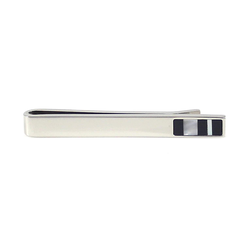 Tailor B Gold Onyx Tie Slide MOP Mother of Pearl Tie Clip Stones Tie Bar 106021-1