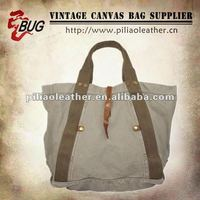 2012 Classic Vintage Canvas Leather Tote Bag For Women