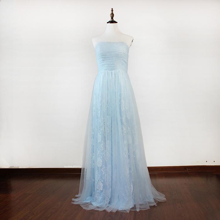 Fancy New Style Strapless A Line Pleat Lace Light Blue ...