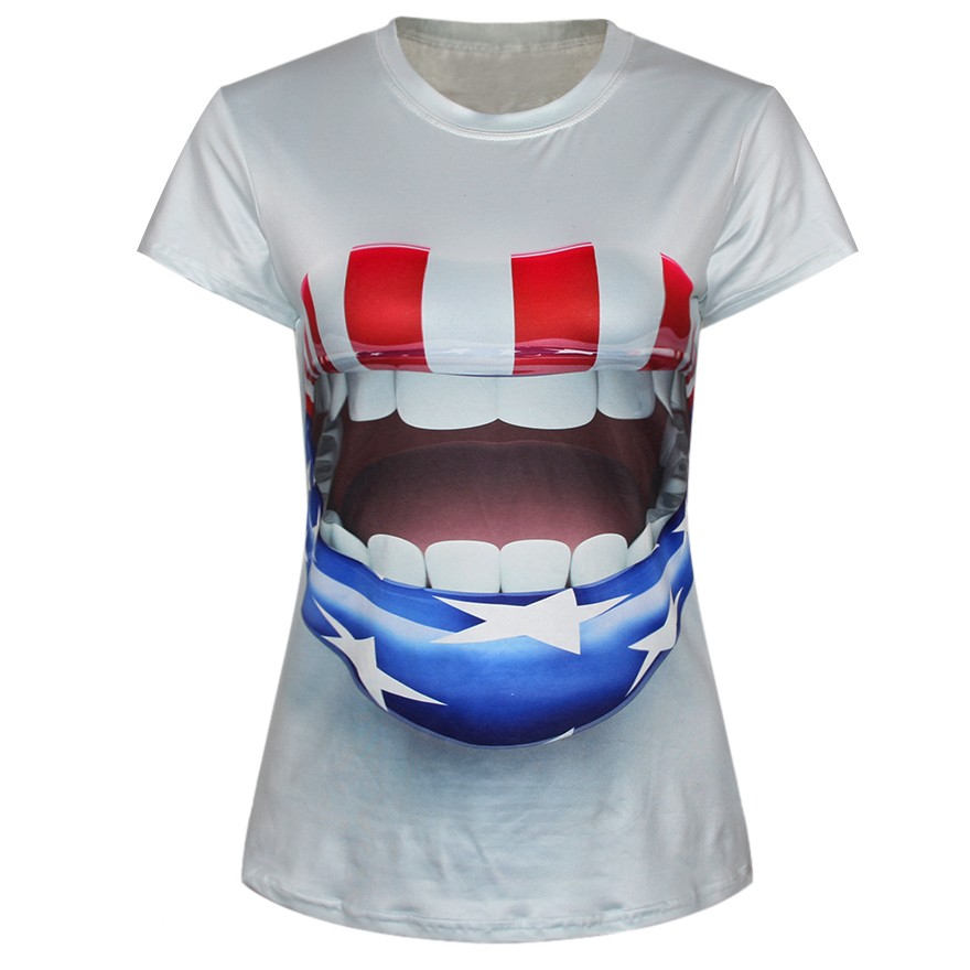 American Flag Printed On Lips Dylan Breathable Digital Printing Comfortable Popular Casual T-shirt