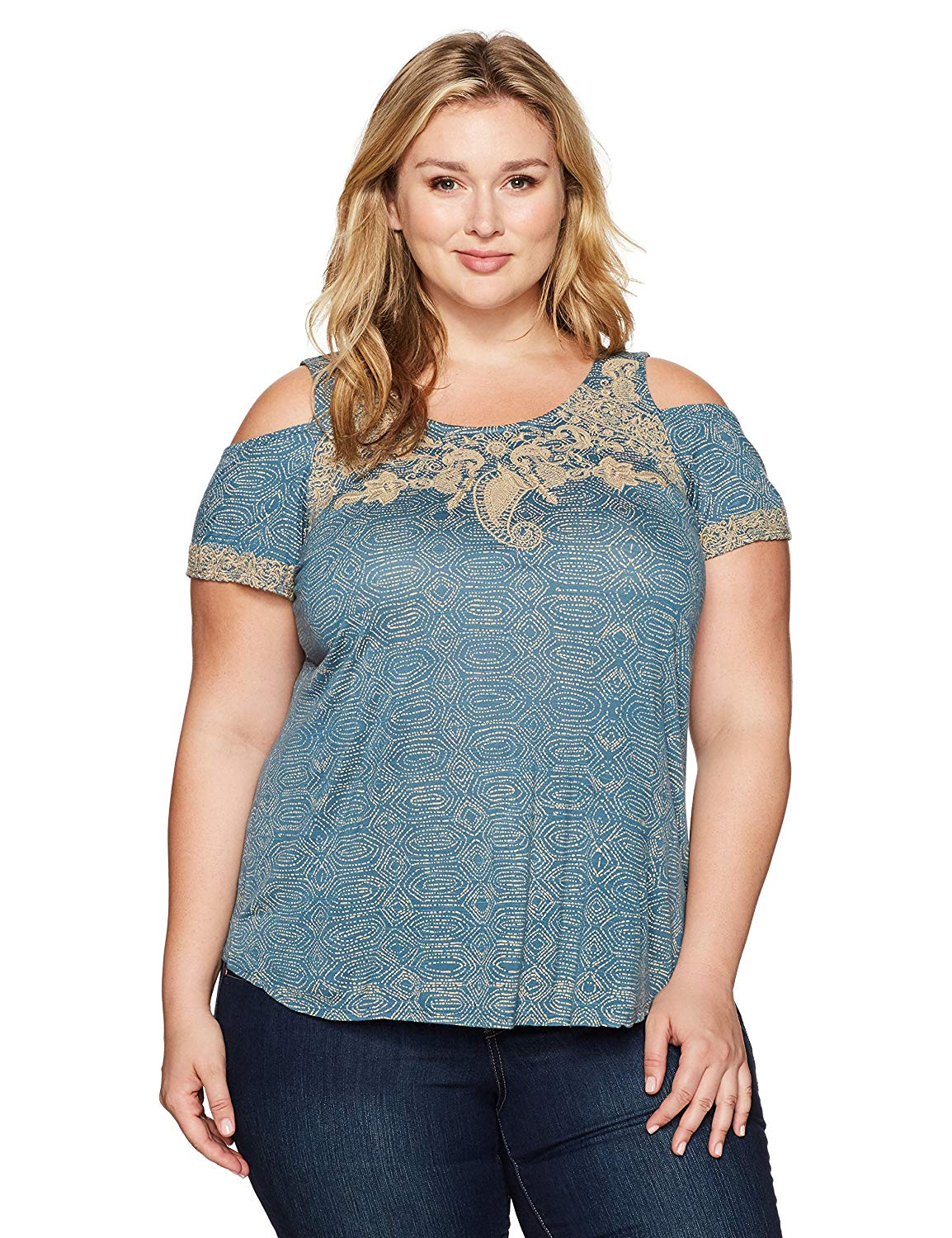 dff38b35bb983 Get Quotations · Lucky Brand Women s Plus Size Embroidered Cold Shoulder Top