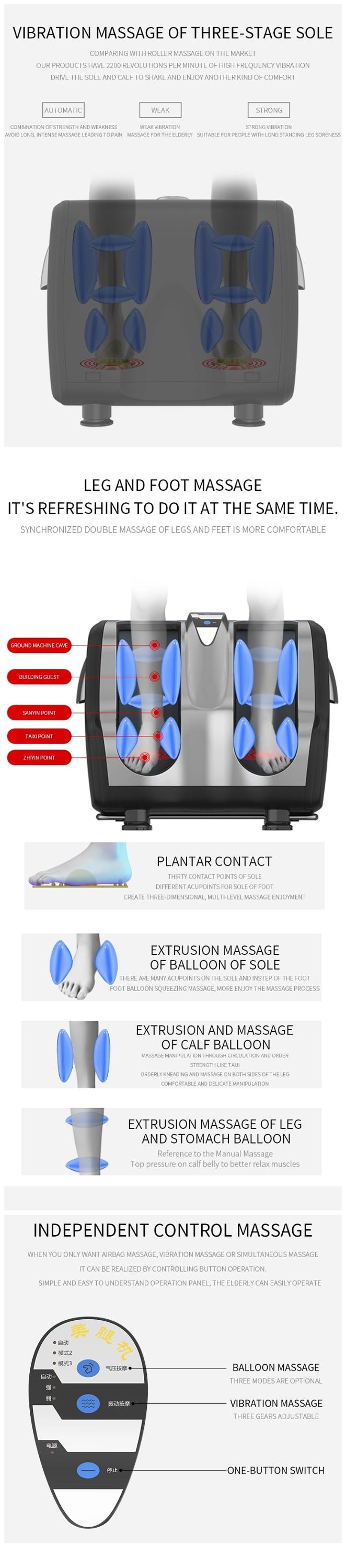 Neue stil air kompression bein massager kneten schieben massage bein fuß