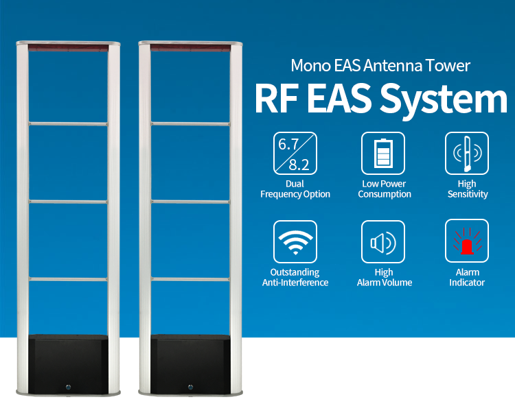 Clothing Store RF Mono EAS Alarm System 8.2mhz Alarm Antenna Sensor Gate for anti theft system Tags Detector EAS Alarm Sensor