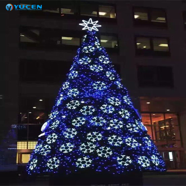 Hot Sale Artificial White Christmas Tree With Blue Light For Outdoor