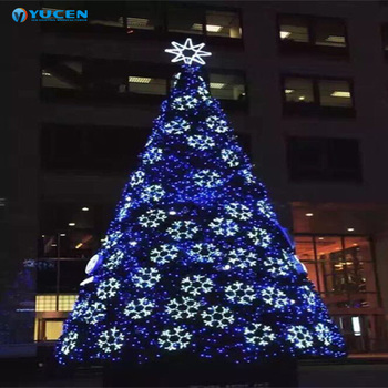 Hot Artificial White Christmas Tree With Blue Light For Outdoor Decoration