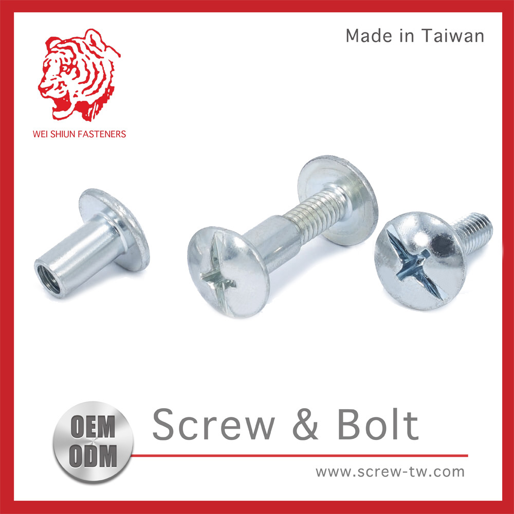 Customized Taiwan Manufacturer Zinc Trivalent Chromate Plating Carbon Steel Sex Bolt for push bars