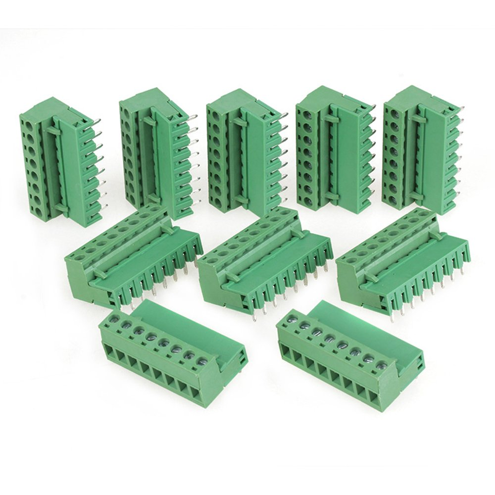 CNBTR 10x Green 8 Pin 300V AC 2EDG Screw Terminal Block Connector 5.08mm Pitch