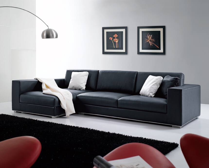 Modern Le Elegant Black Leather Or Fabric I Shape Sofa Couch For Home Use