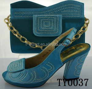 Good quality Italian Matching Shoes and Bag Set in tur blue