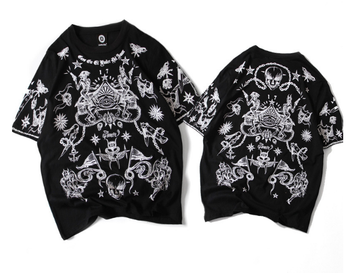Fashional street hip hop style with skull printed wholesale men's oversize cotton t shirt