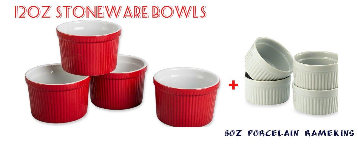 BIA Cordon Bleu (Set of 4) - 12 oz. Porcelain Ramekins Bowls 12 ounce (Red) & (Set of 4) - 8 oz. Porcelain Ramekins