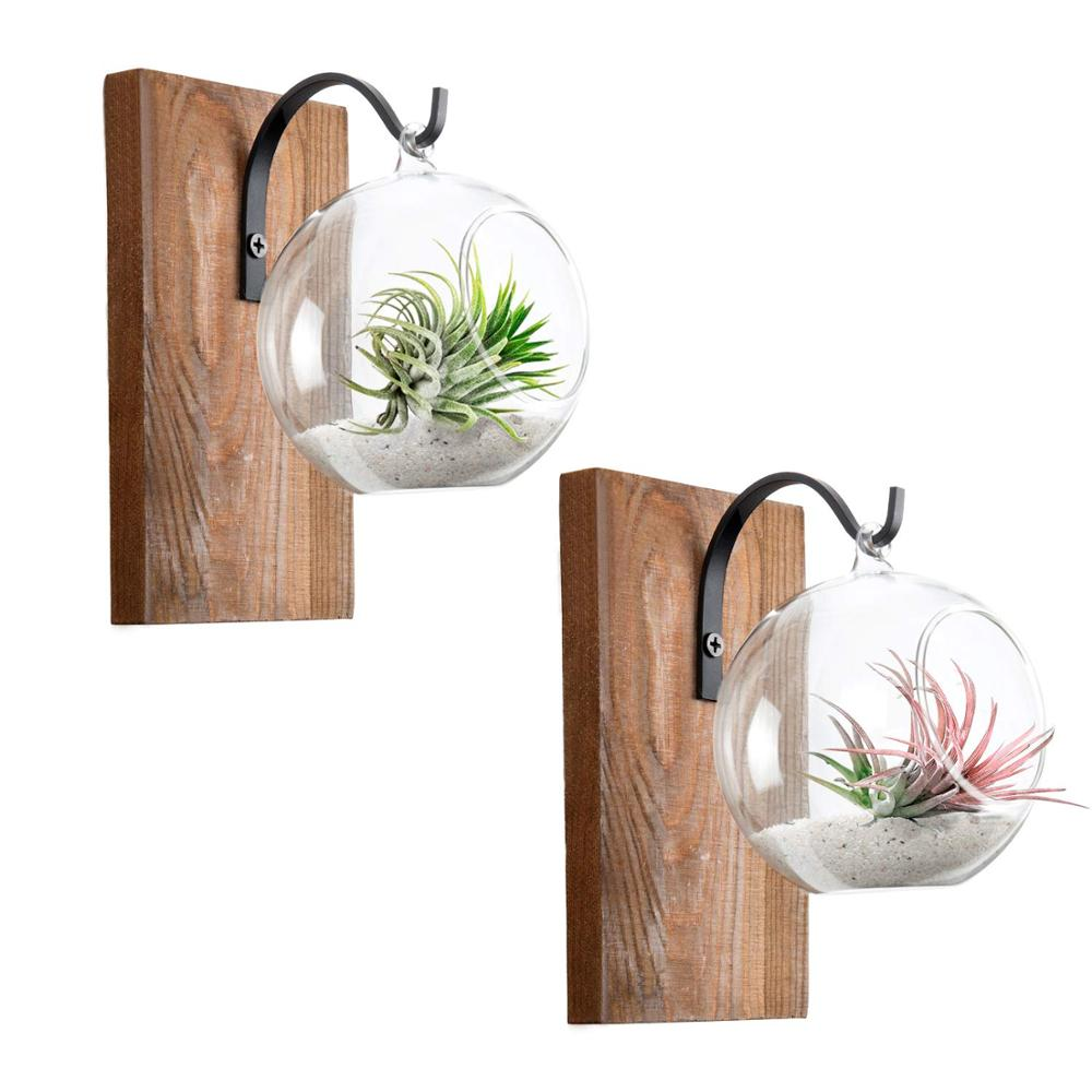 Rustic Decor Air Plant Holder wall planter pot with Wood Board