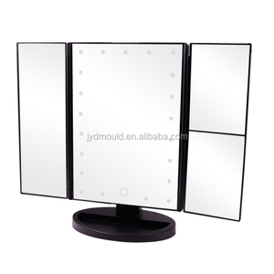 Led Lighted Vanity Mirror Make Up Tri-Fold with 21Pcs Lights 180 Degree Free Rotation Table Countertop Cosmetic Bathroom Mirror
