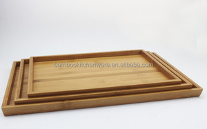 bamboo serving tray set of three