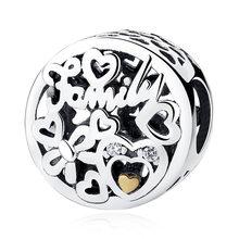 Подлинный бусины из стерлингового серебра 925 Шарм Forever Love To Mother подвеска в виде сердца подходит для оригинальных браслетов Pandora ювелирные из...(Китай)